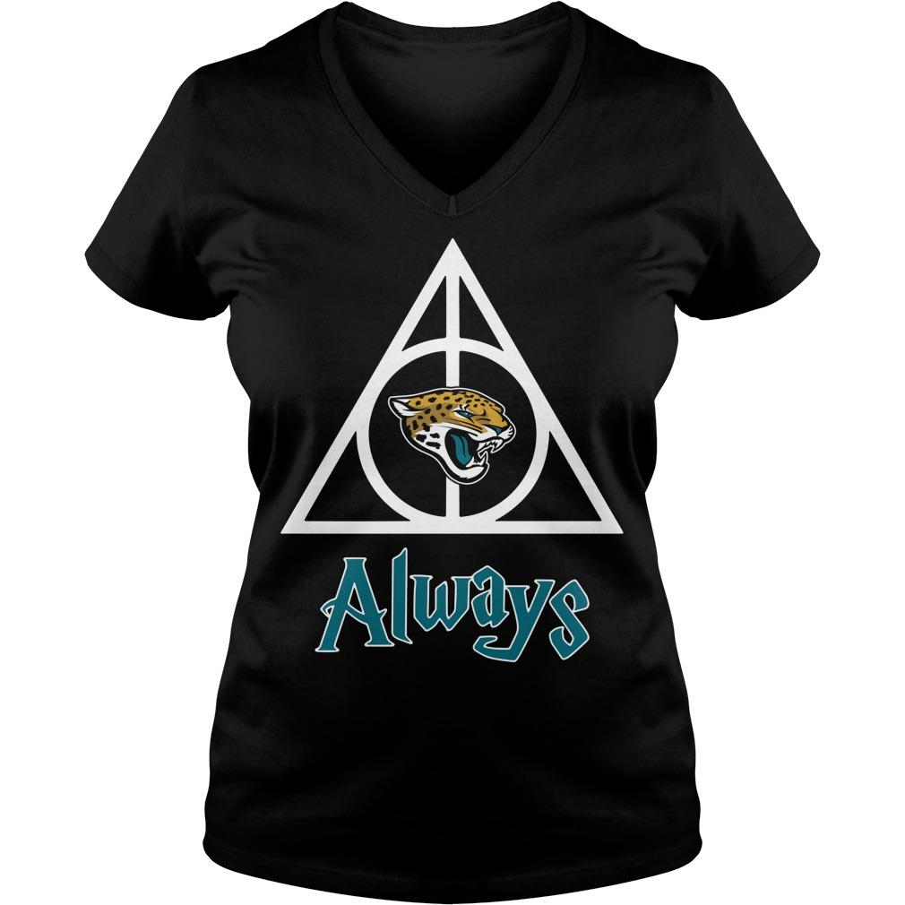 Jacksonville Jaguars Hallows always Harry Potter V-neck T-shirt