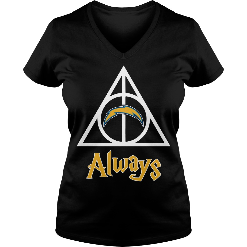 Los Angeles Chargers Deathly Hallows Always Harry Potter V-neck T-shirt