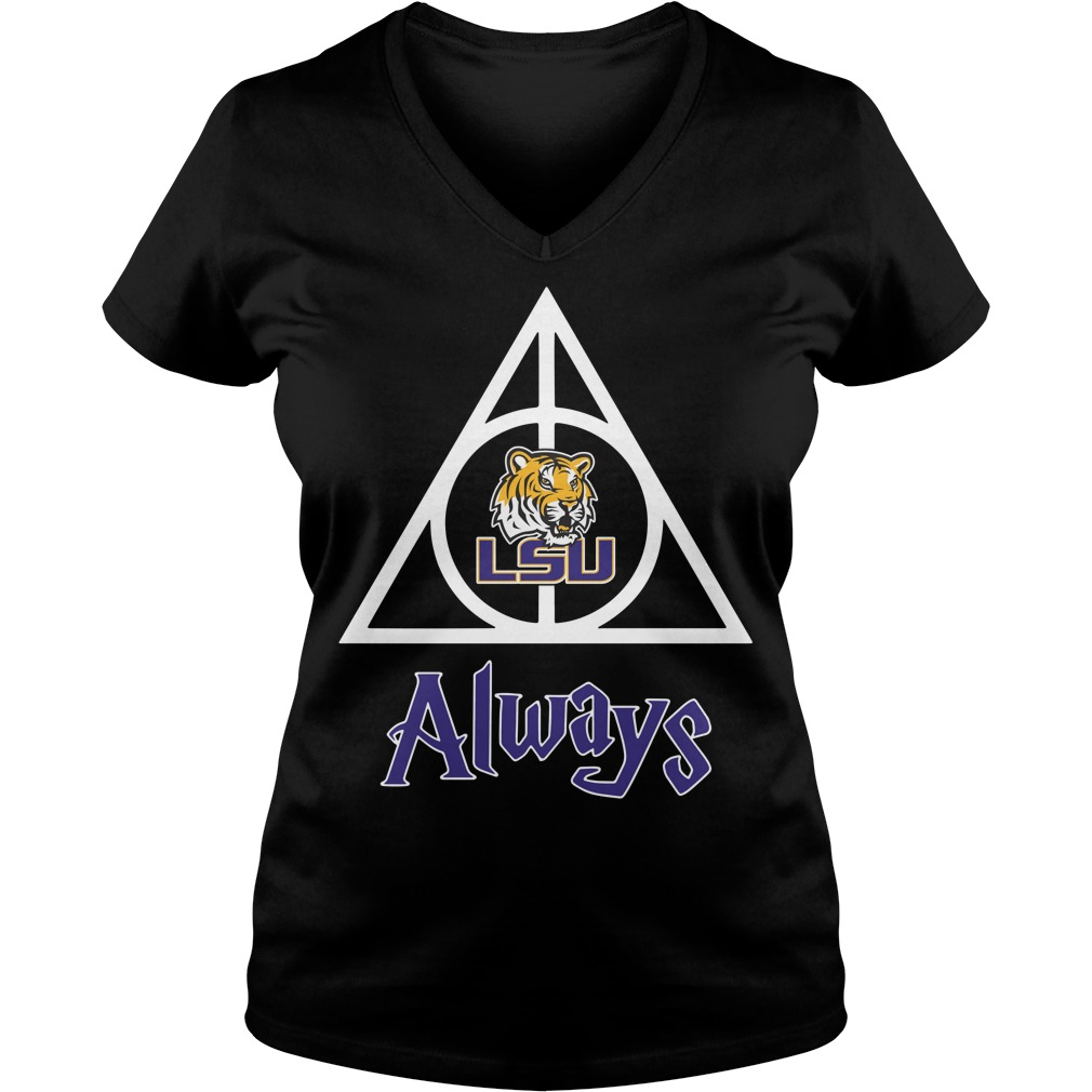 LSU Tigers Deathly Hallows always Harry Potter V-neck T-shirt