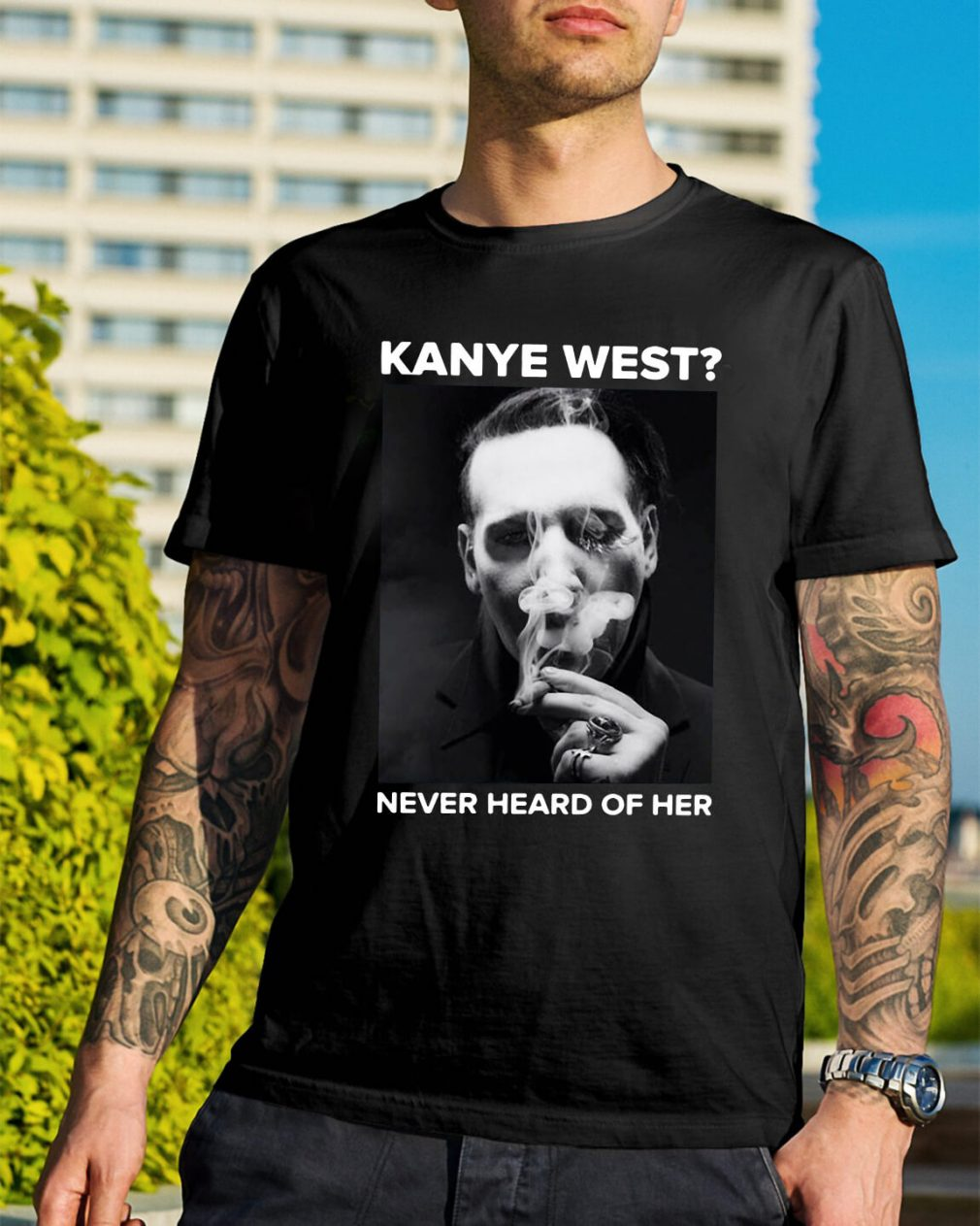 Marilyn Manson smoking Kanye West never heard of her shirt