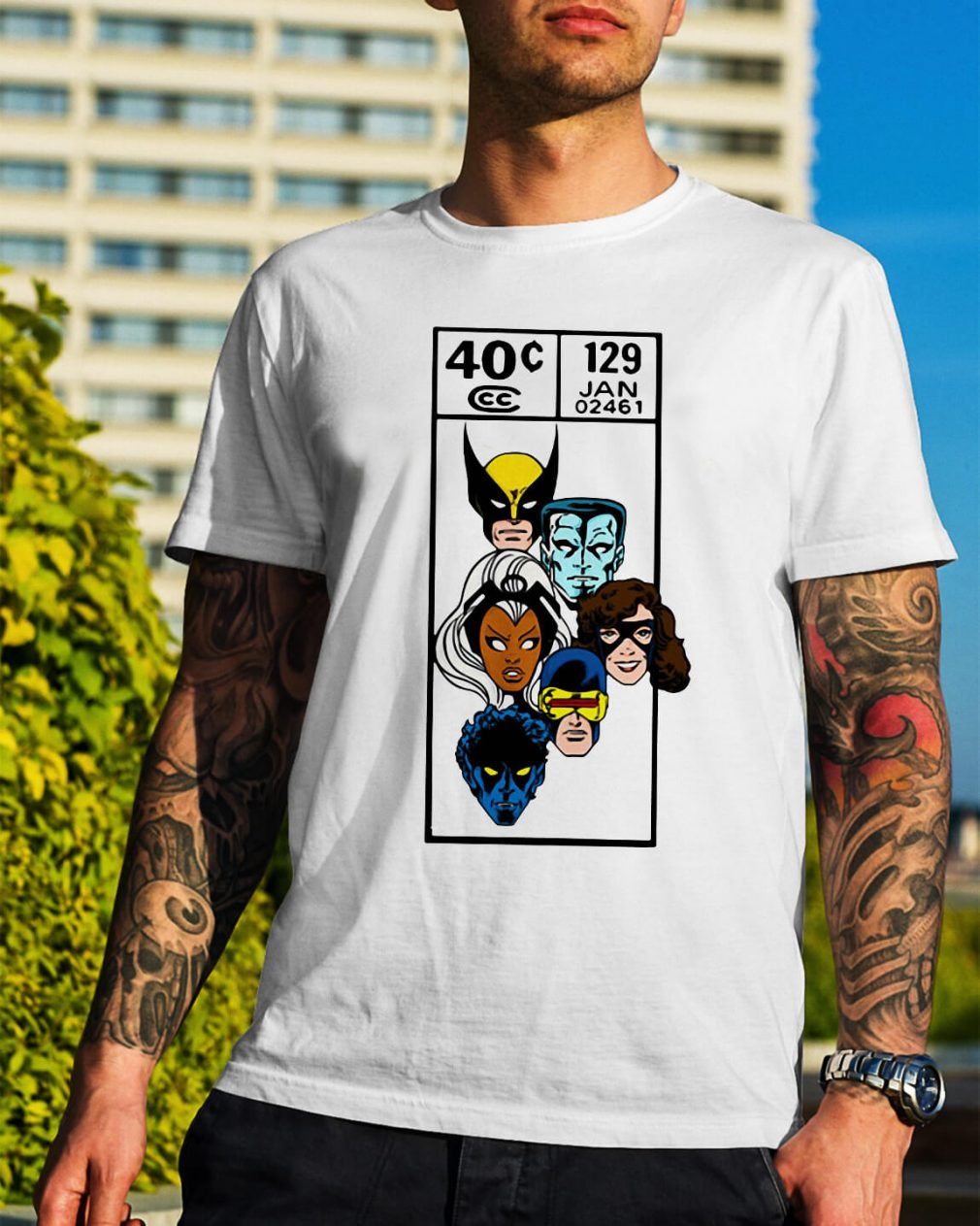 Marvel X-men faces scover corner art shirt