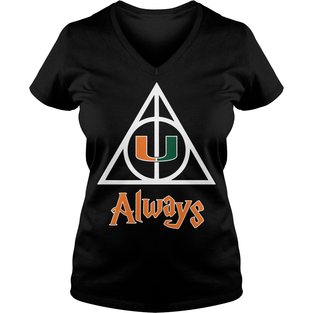 Miami Hurricanes Deathly Hallows always Harry Potter V-neck T-shirt