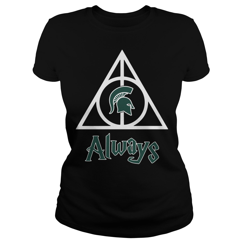Michigan State Spartans Deathly Hallows always Harry Potter Ladies Tee