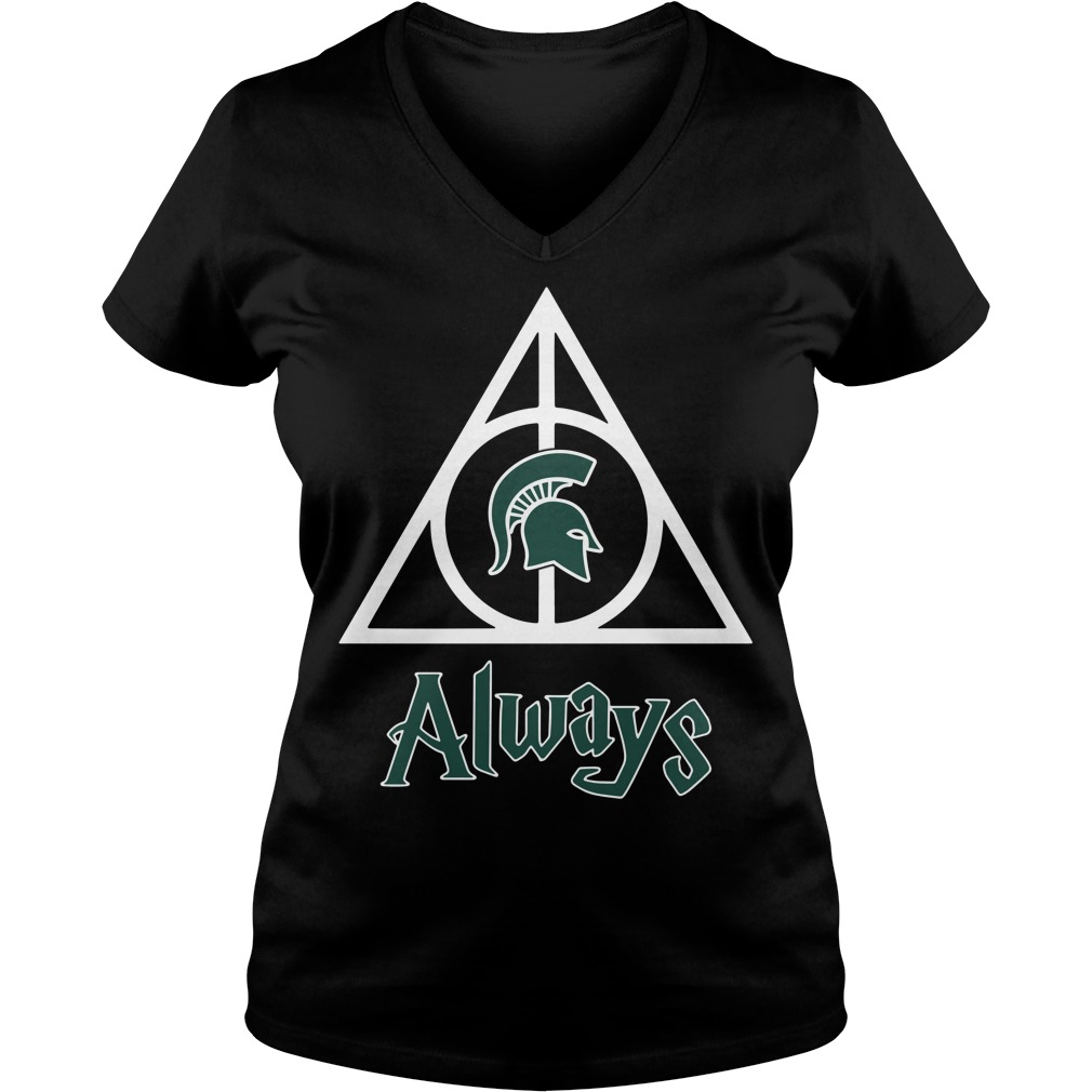 Michigan State Spartans Deathly Hallows always Harry Potter V-neck T-shirt
