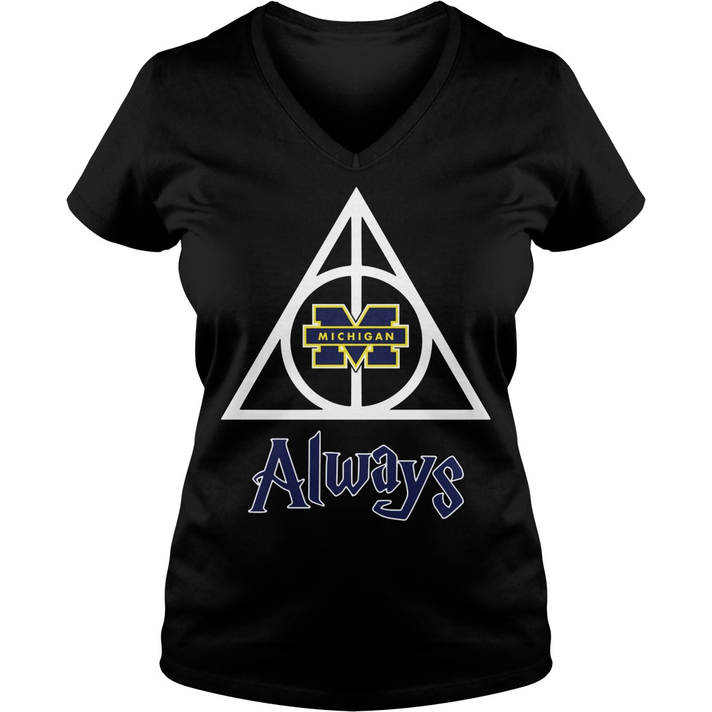 Michigan Wolverines Deathly Hallows always Harry Potter V-neck T-shirt