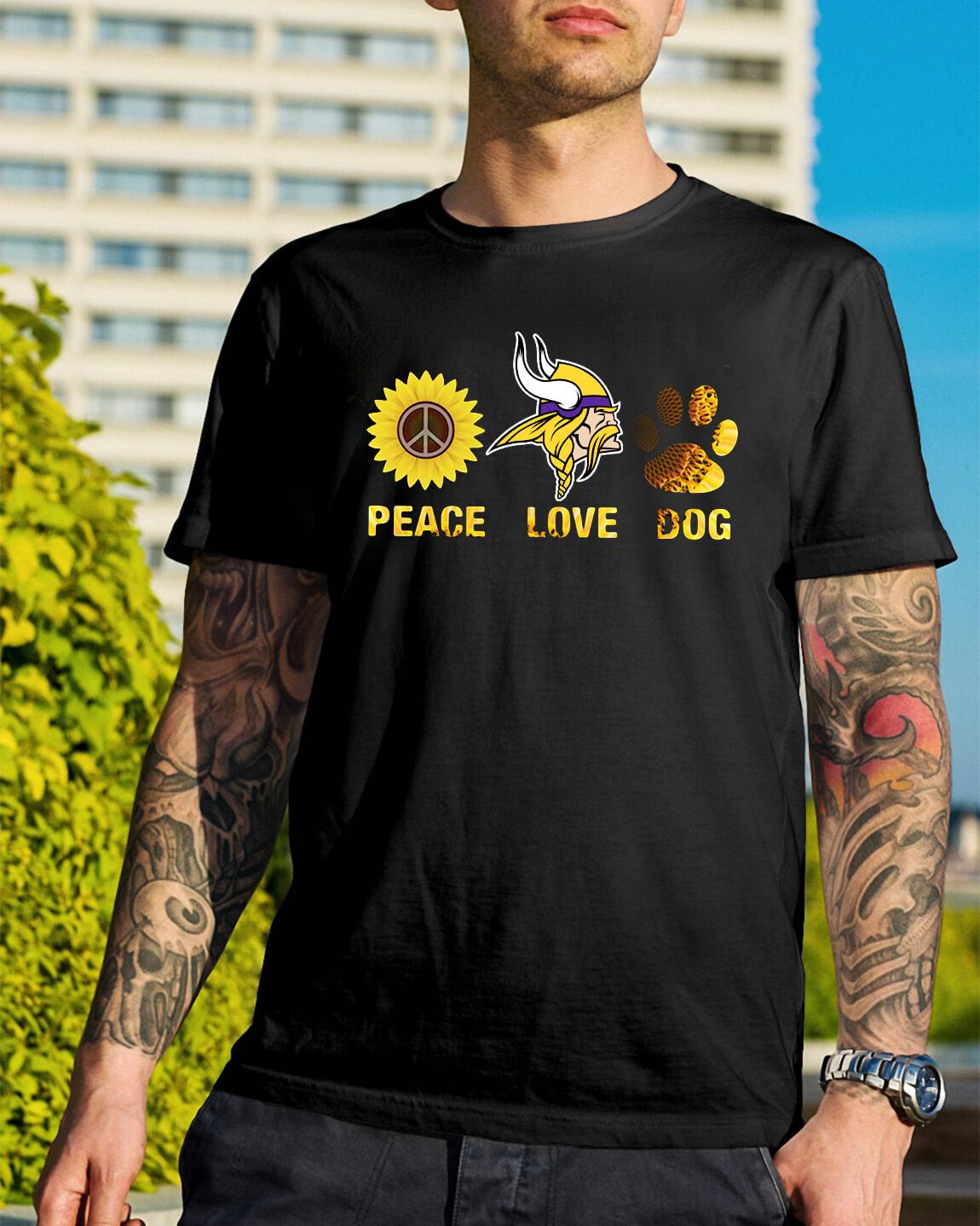 bee246d70 Minnesota Vikings peace love dog shirt, hoodie, sweater and v-neck t ...