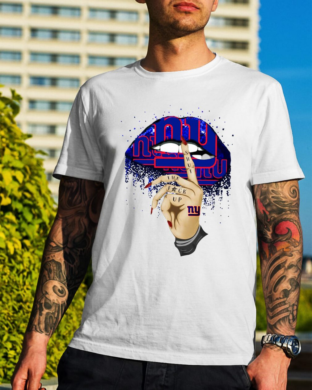New York Giants lips shut the fuck up shirt