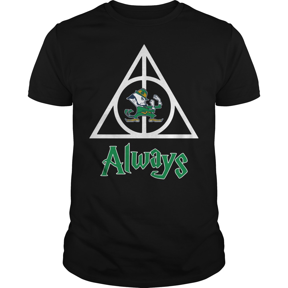 Notre Dame Fighting Irish Deathly Hallows always Harry Potter Guys Shirt