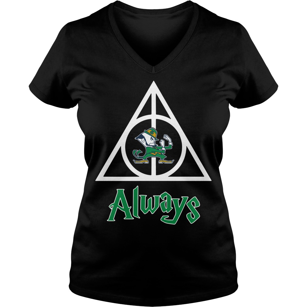 Notre Dame Fighting Irish Deathly Hallows always Harry Potter V-neck T-shirt