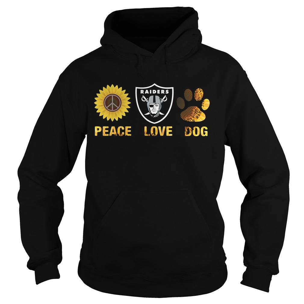 Oakland Raiders peace love dog Hoodie
