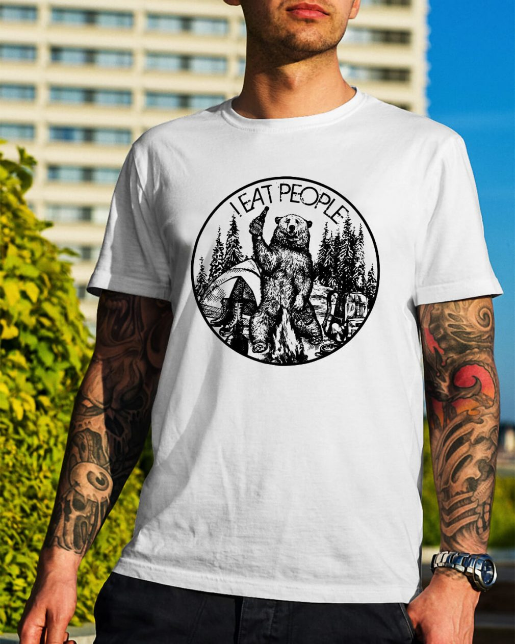 Official Bear camping I eat people shirt
