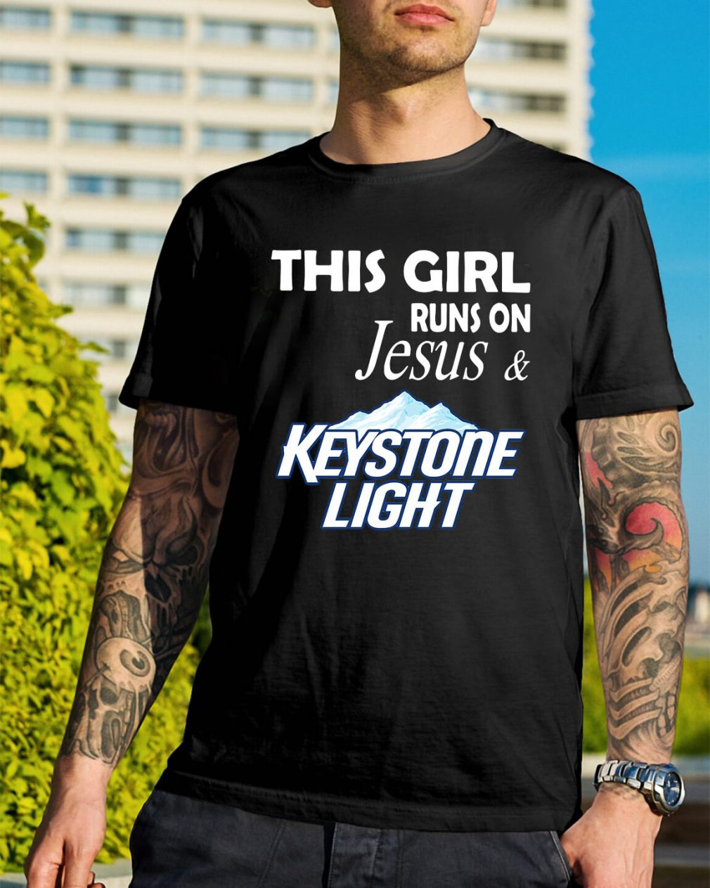 Official This girl runs on Jesus and Keystone Light shirt