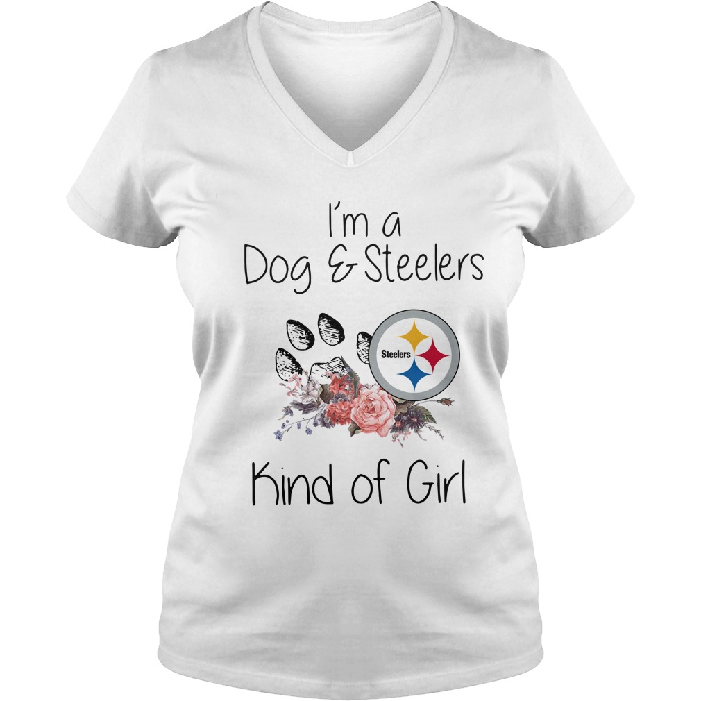 Official I'm a dog and Steelers kind of girl V-neck T-shirt