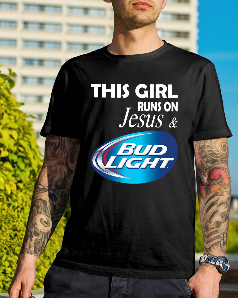 Official This girl runs on Jesus and Bud Light shirt
