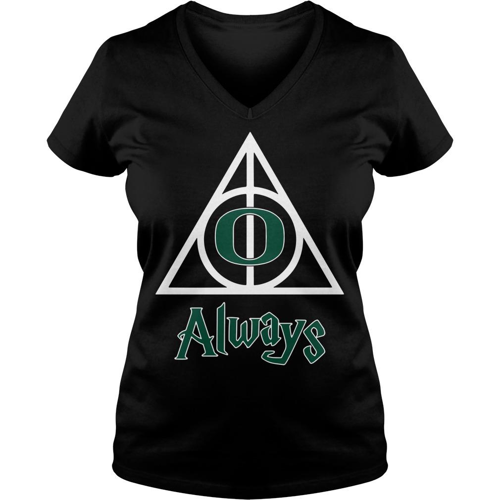 Oregon Ducks Deathly Hallows always Harry Potter V-neck T-shirt