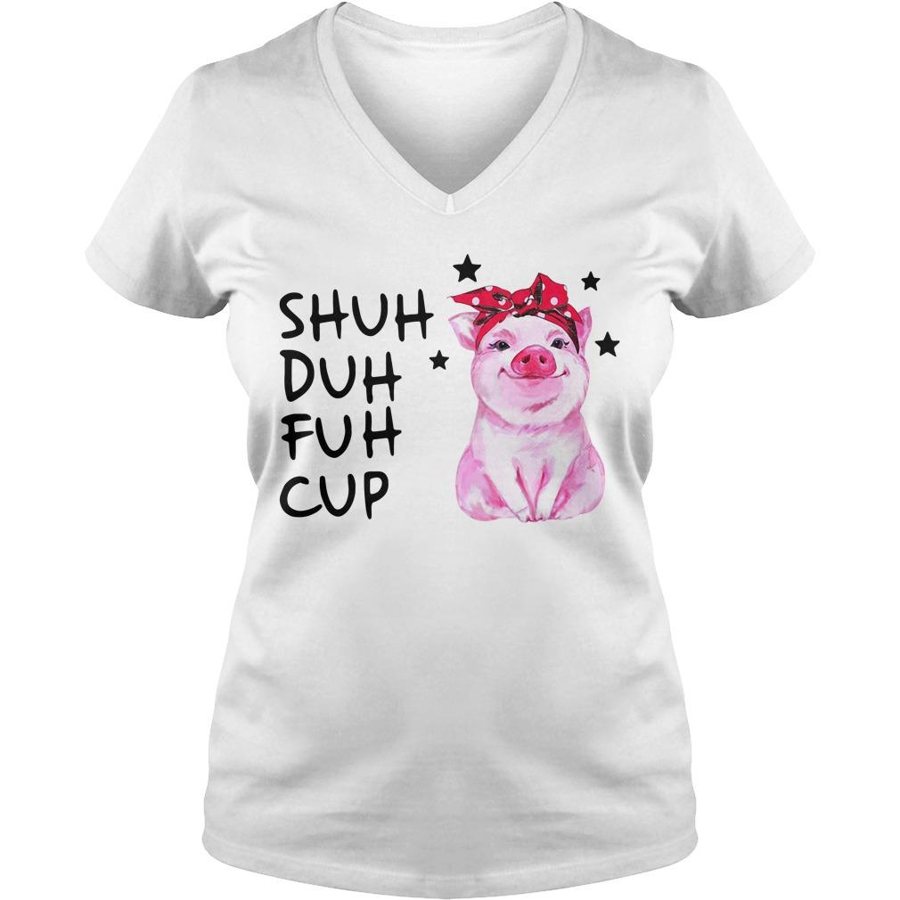 Pig wearing bandana shuh duh fuh cup V-neck T-shirt