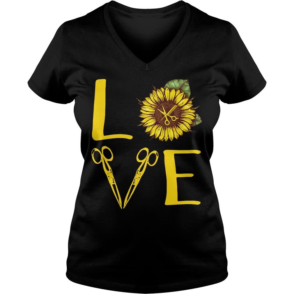 Sunflower hairdresser love V-neck T-shirt