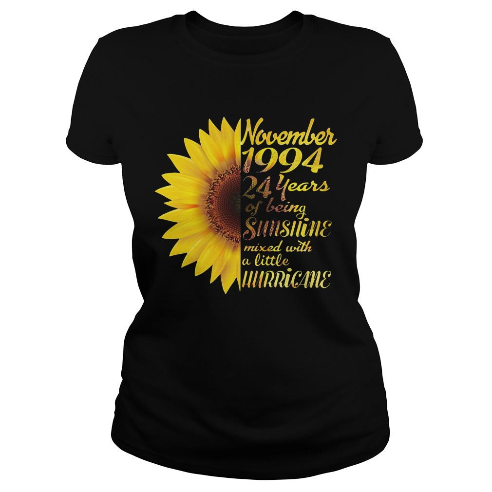 Sunflower November 1994 24 years of being sunshine mixed Ladies Tee