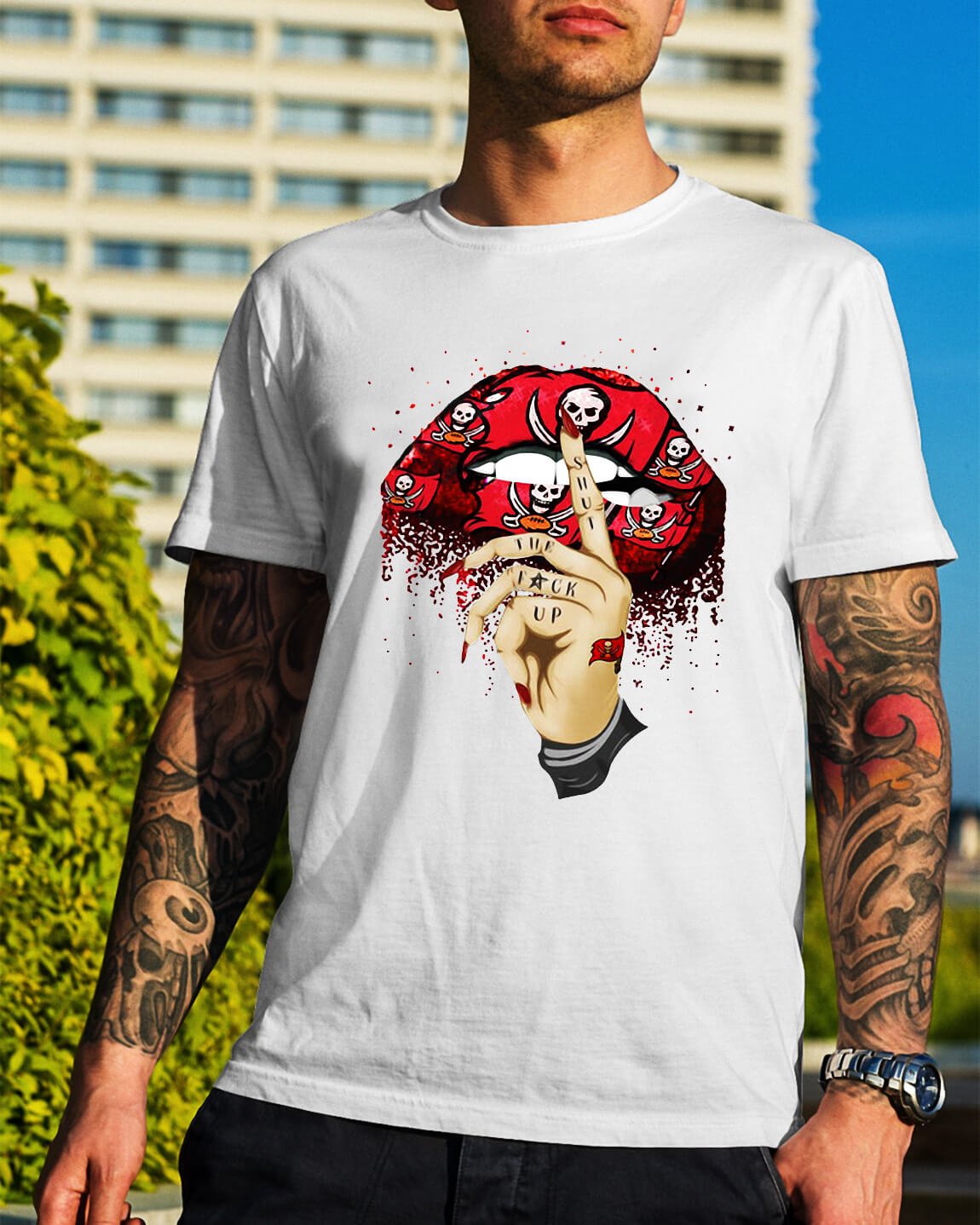 Tampa Bay Buccaneers lips shut the fuck up shirt 9ae09c169