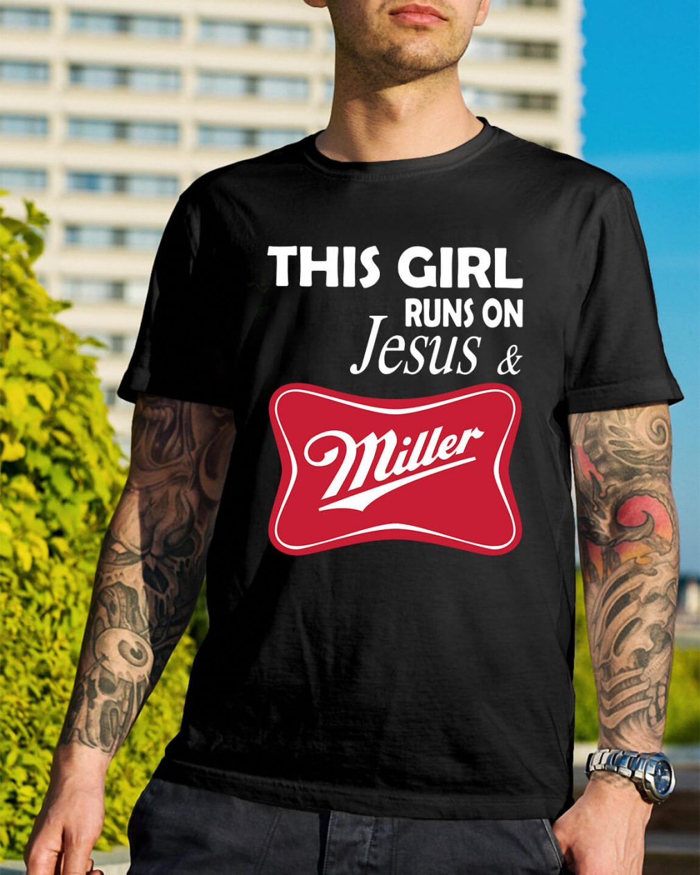 This girl runs on Jesus and Miller shirt