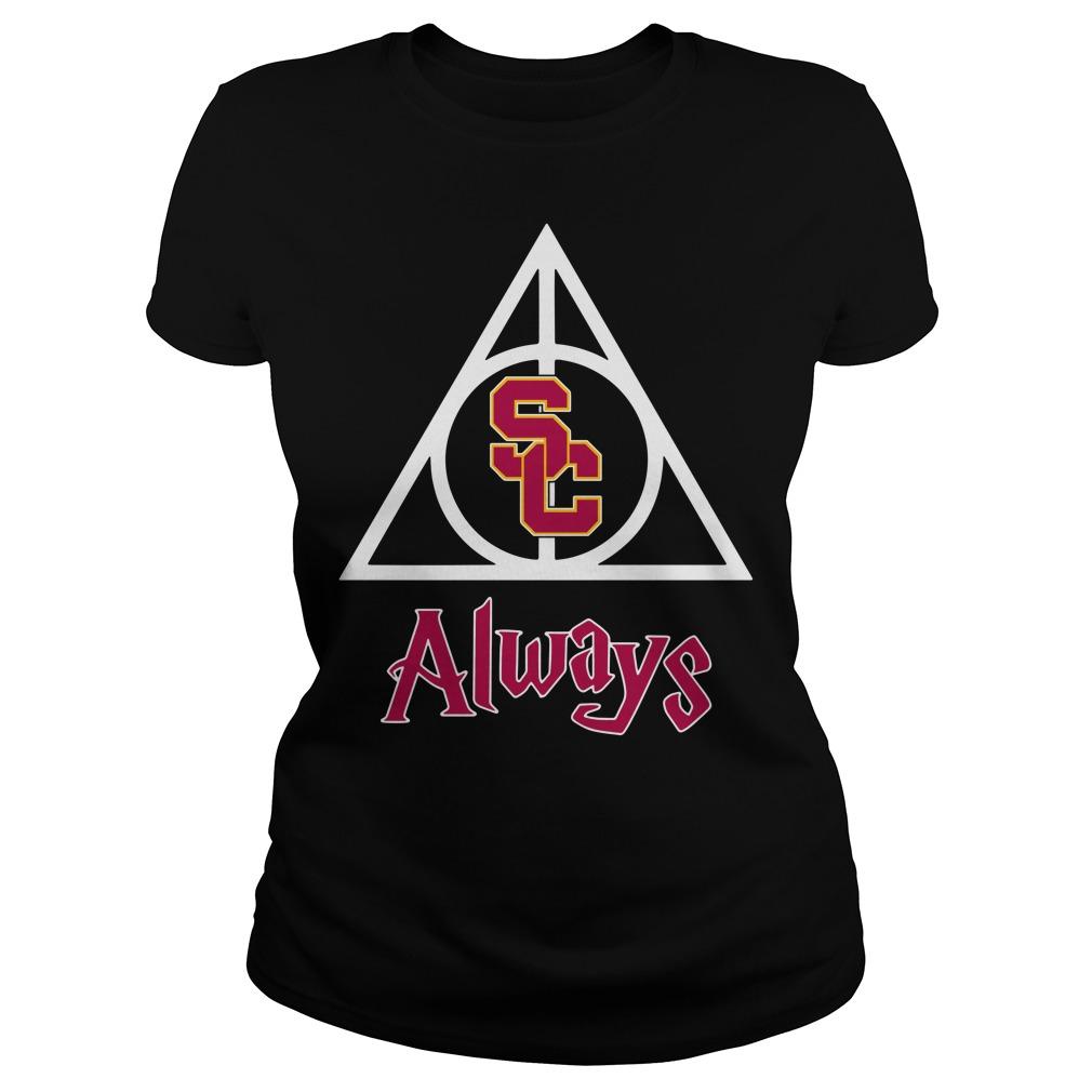 USC Trojans Deathly Hallows Always Harry Potter Ladies Tee