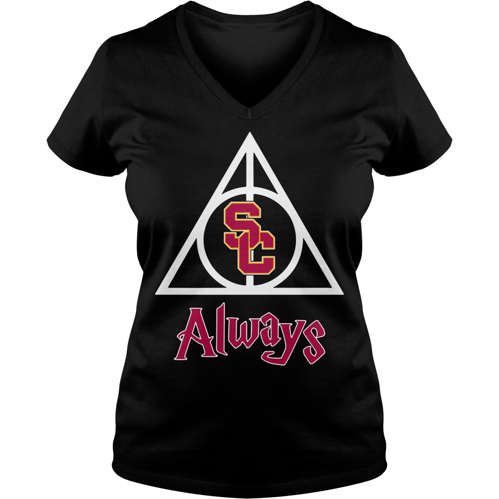 USC Trojans Deathly Hallows Always Harry Potter V-neck T-shirt
