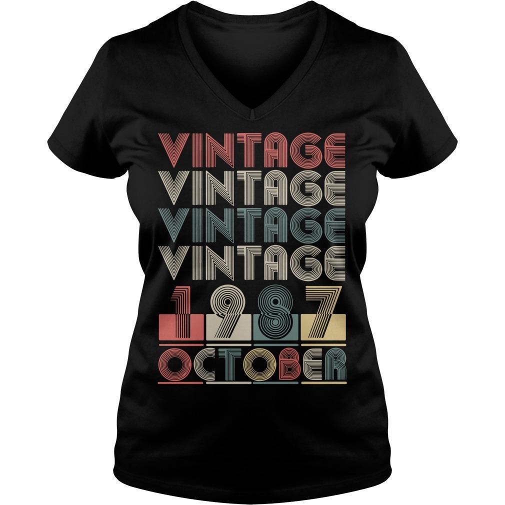 Vintage vintage vintage vintage 1987 October V-neck T-shirt