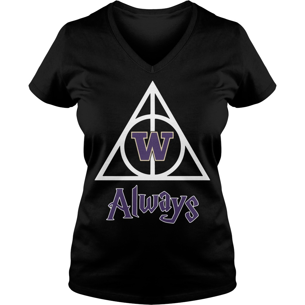 Washington Husky Deathly Hallows Always Harry Potter V-neck T-shirt