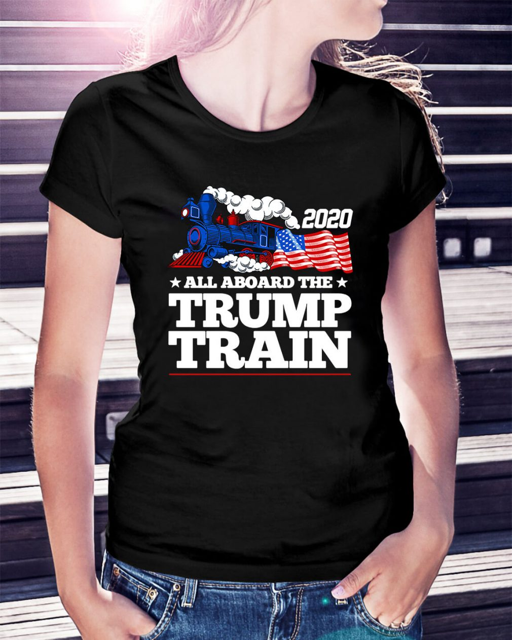 2020 all aboard the Trump Train Ladies Tee