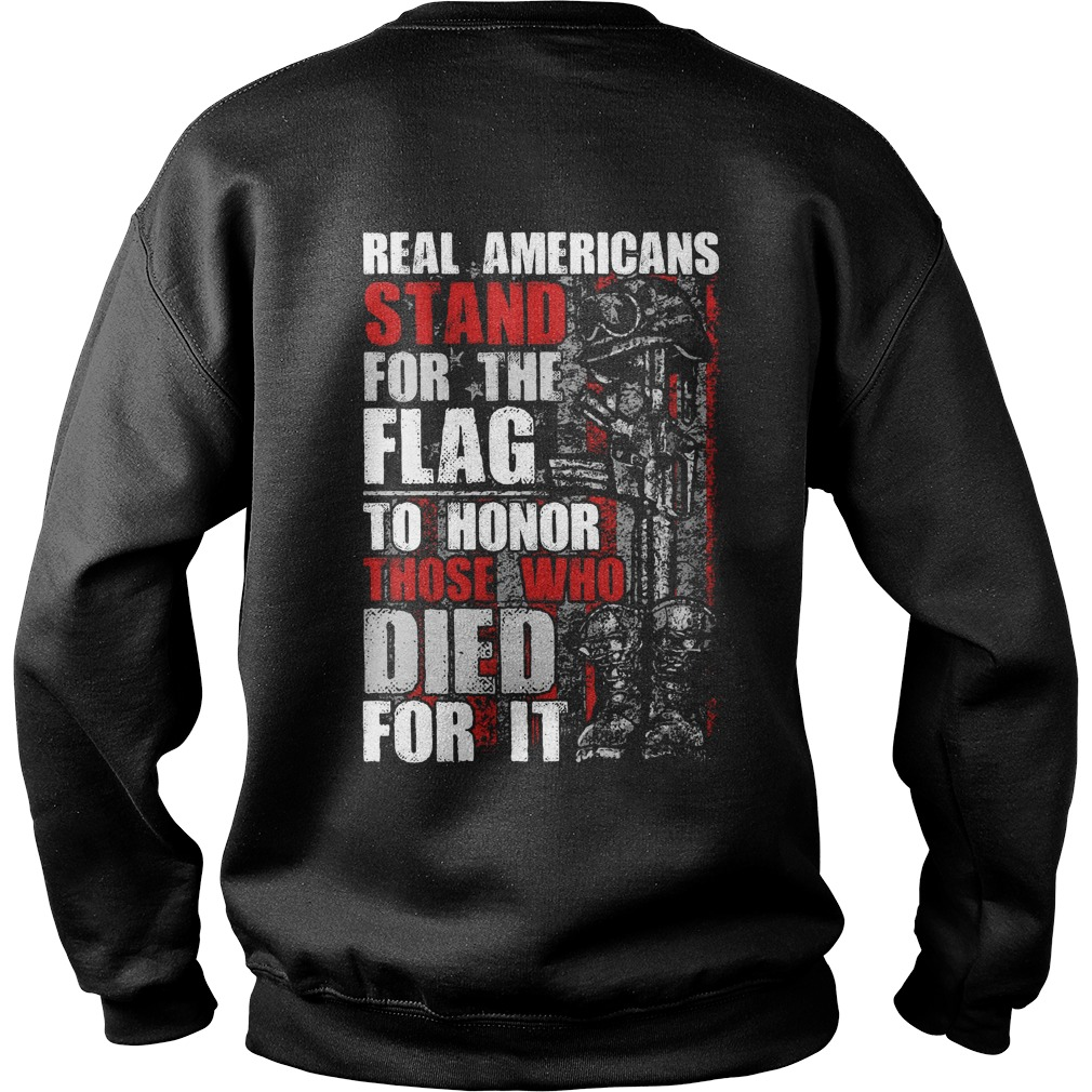 Americans stand for the Flag to honor those who died for it Sweater Back Mockup