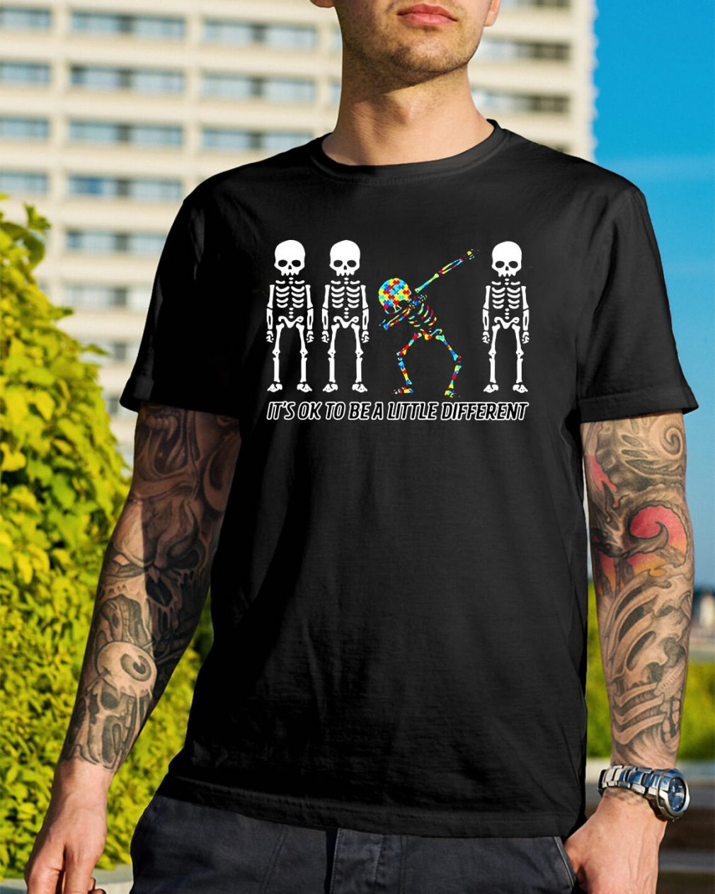 Autism Dabbing Skeleton it's ok to be a little different shirt