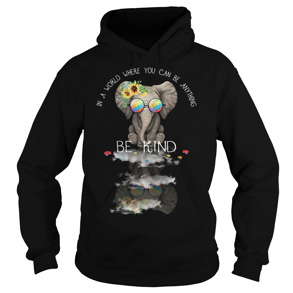 Autism elephant in a world where you can be anything be kind Hoodie
