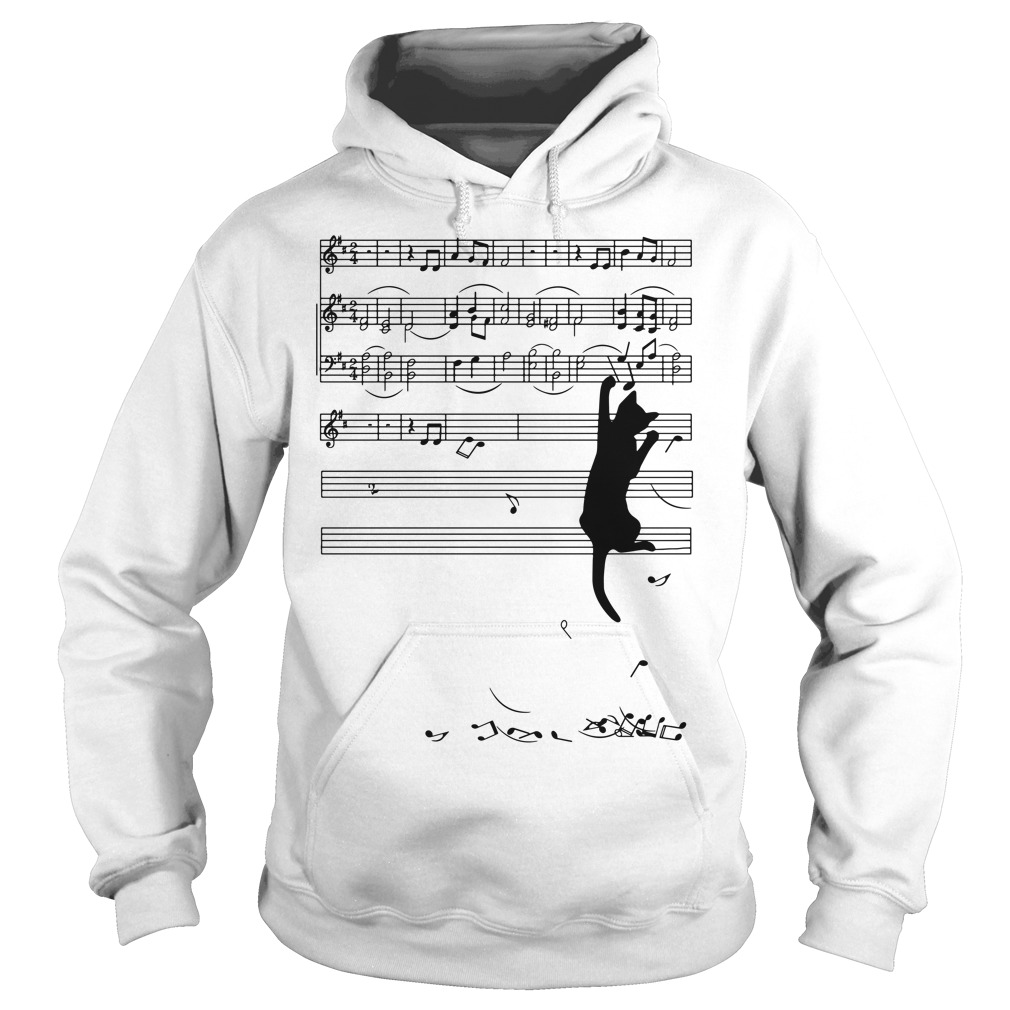 Black cat plays with music notes Hoodie