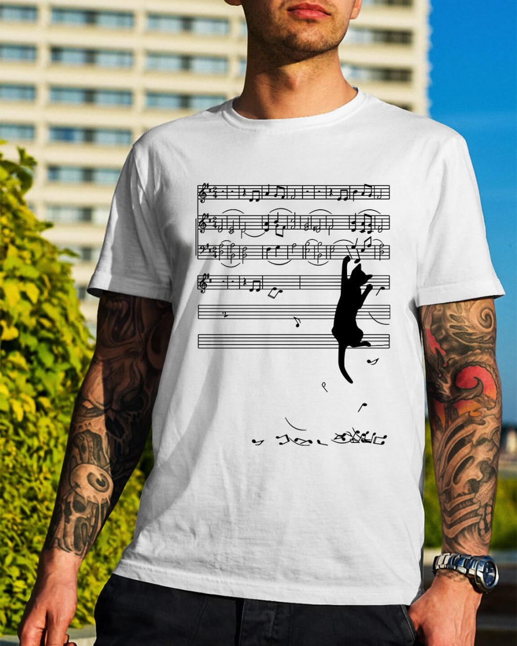 Black cat plays with music notes shirt