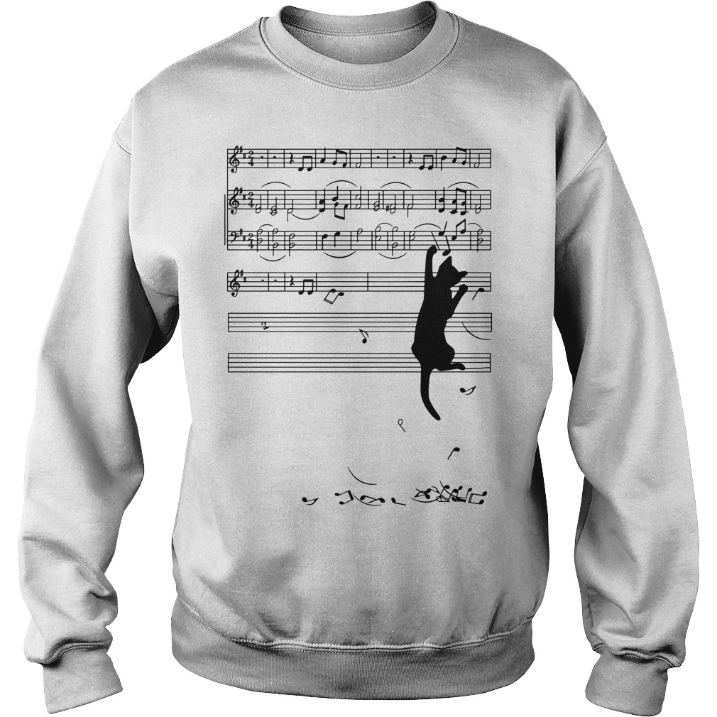 Black cat plays with music notes Sweater