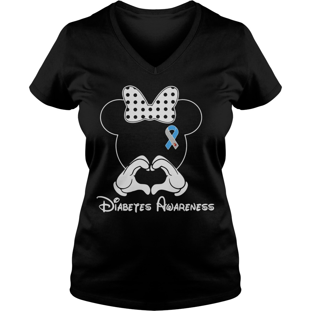 Breast cancer Mickey Mouse Diabetes Awareness V-neck T-shirt