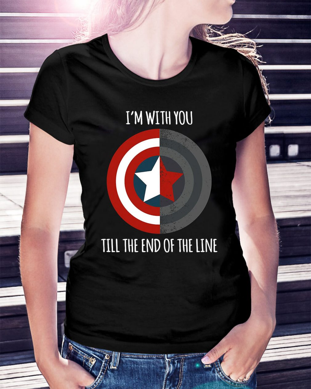 Captain America I'm with you till the end of the line Ladies Tee