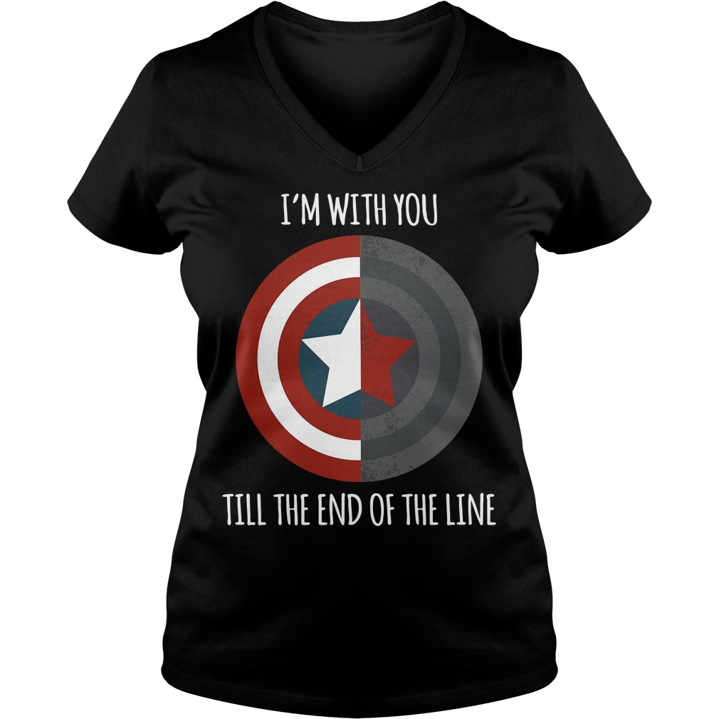 Captain America I'm with you till the end of the line V-neck T-shirt