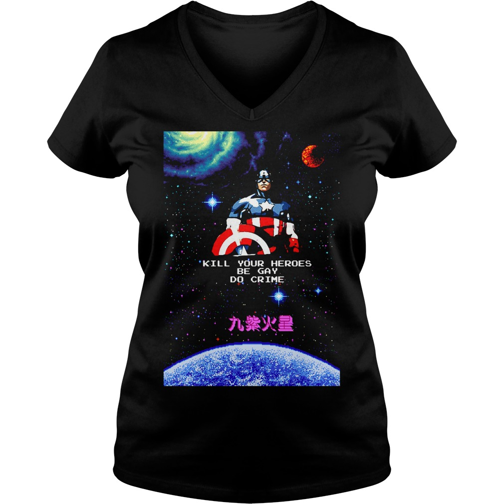 Captain America kill your heroes be gay do crime V-neck T-shirt