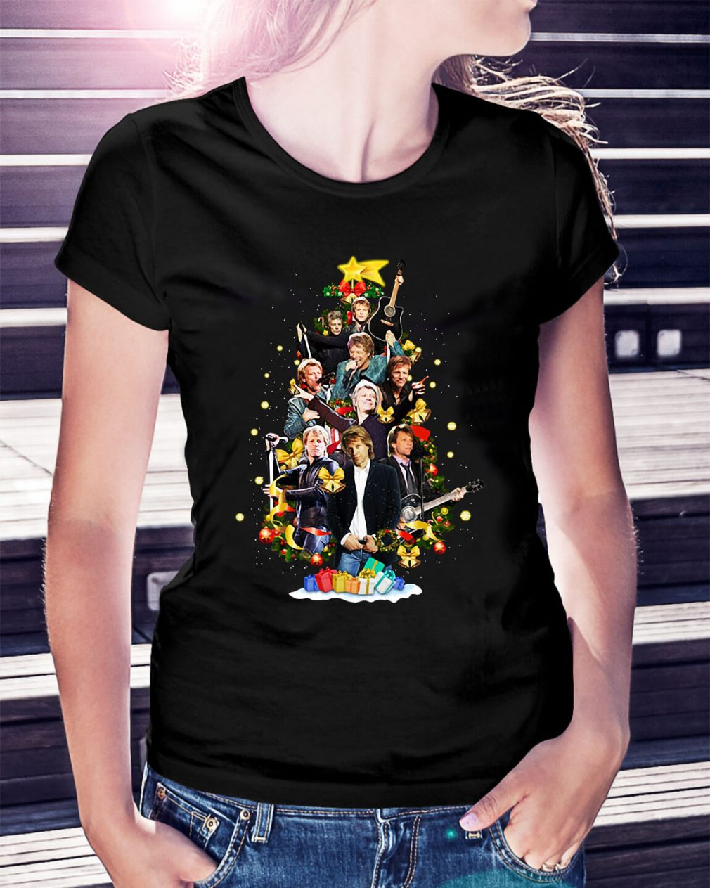 Christmas Jon Bon Jovi Christmas tree Ladies Tee