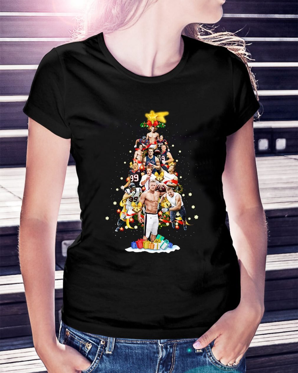 Christmas Justin James Watt Christmas tree Ladies Tee