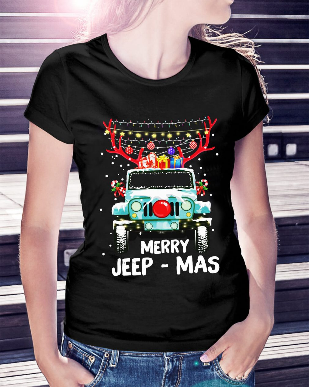 Christmas Merry Jeep-Mas Ladies Tee