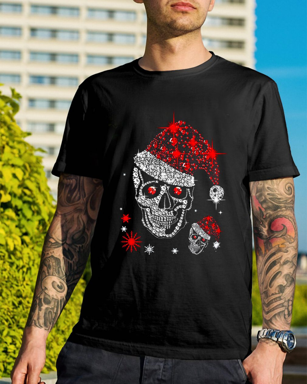 Christmas rhinestones smiling skull Guys Shirt