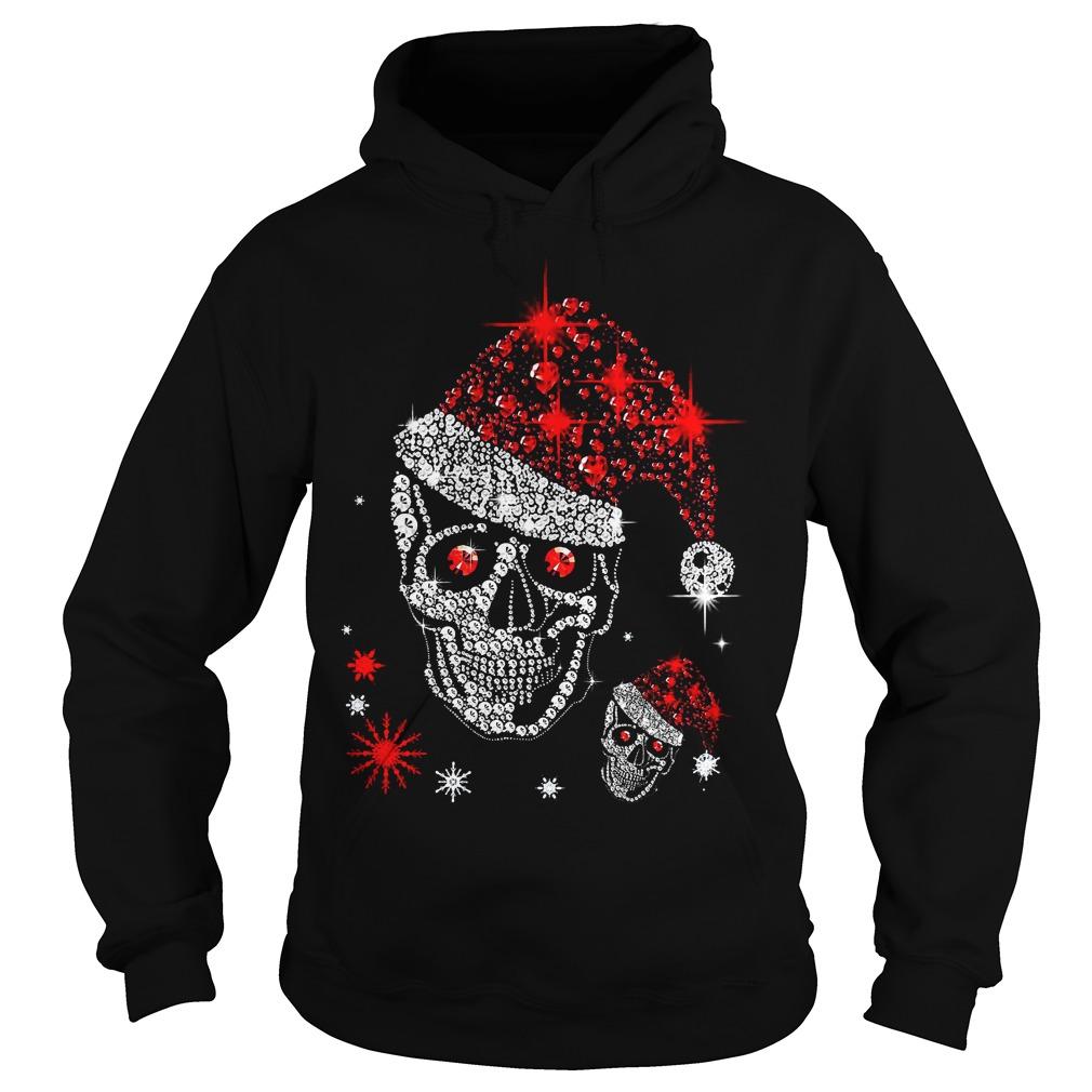 Christmas rhinestones smiling skull Hoodie