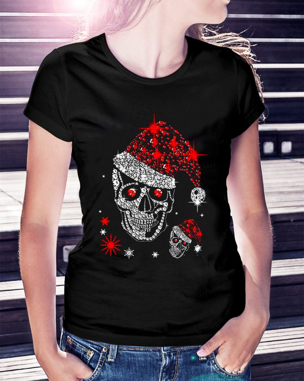 Christmas rhinestones smiling skull Ladies Tee