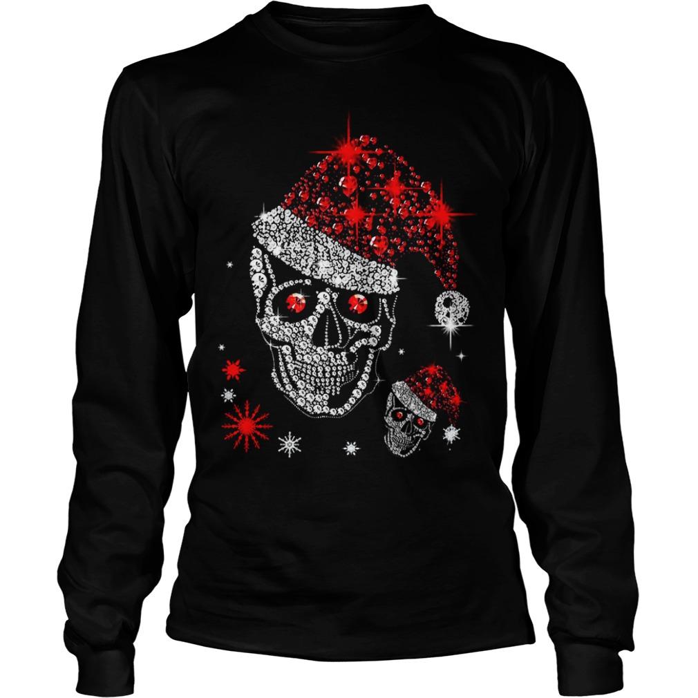 Christmas rhinestones smiling skull Longsleeve Tee