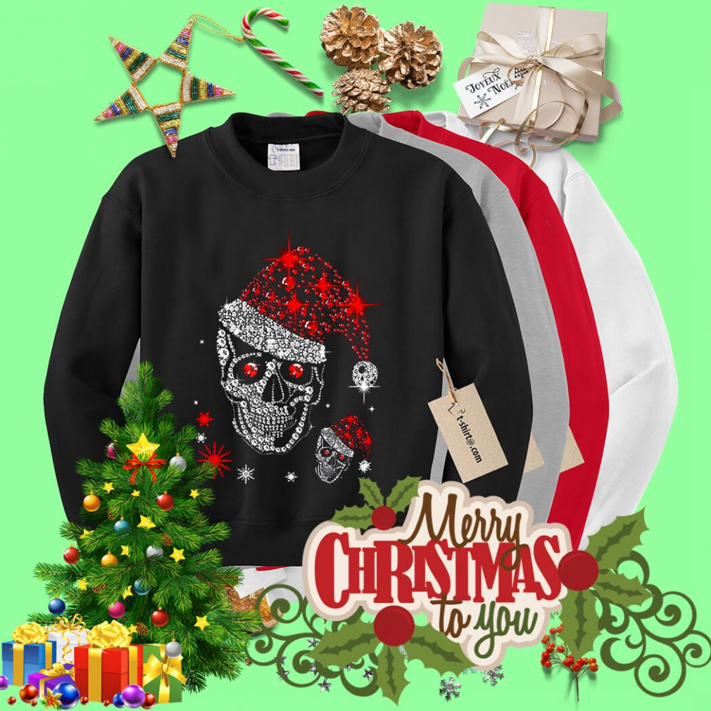 Christmas rhinestones smiling skull shirt, sweater