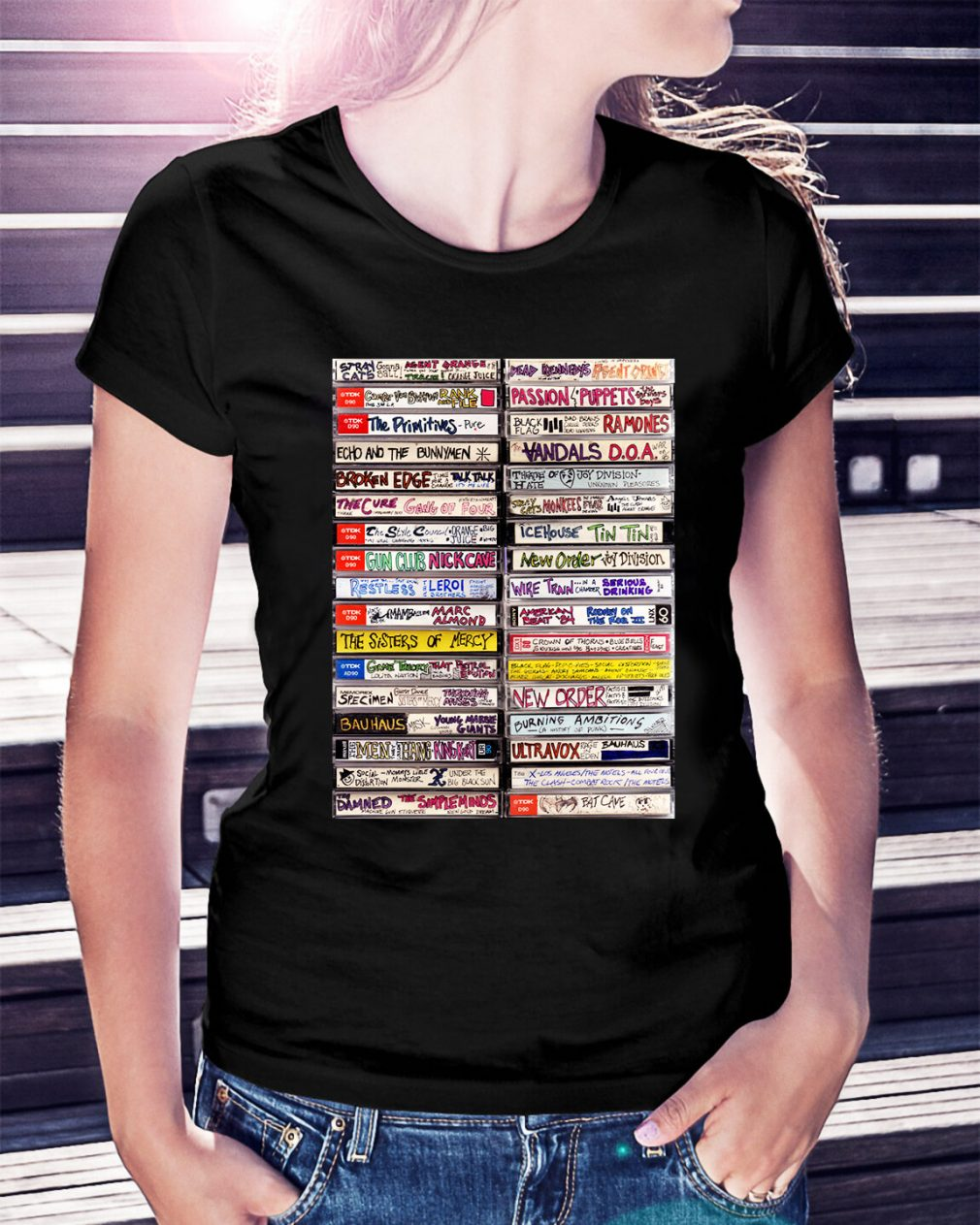 Classic hip hop cassette tapes 1980s Ladies Tee