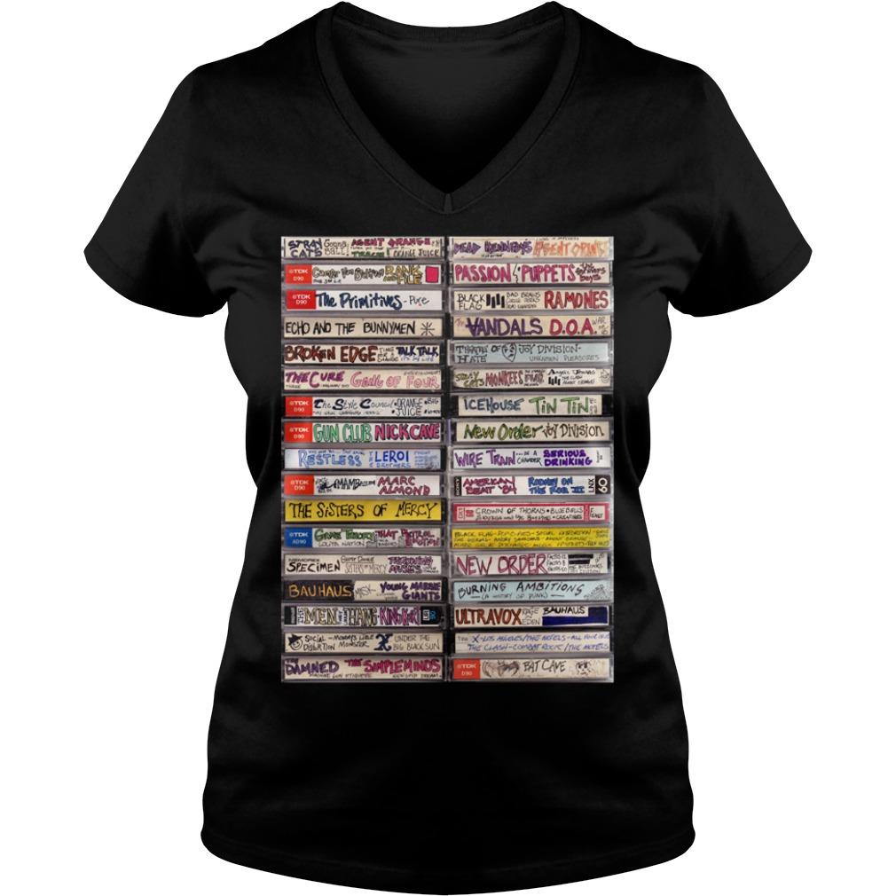 Classic hip hop cassette tapes 1980s V-neck T-shirt