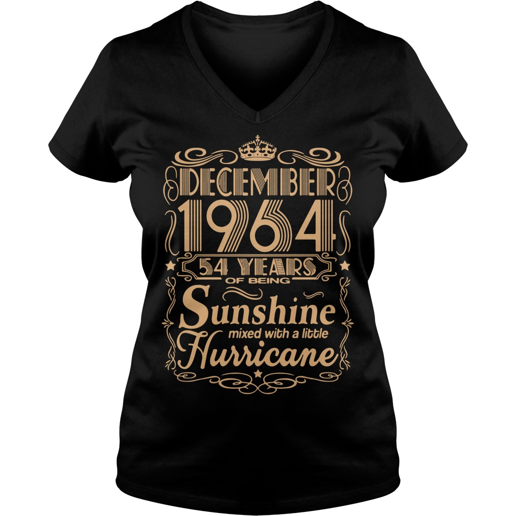 December 1964 54 years of being sunshine mixed V-neck T-shirt